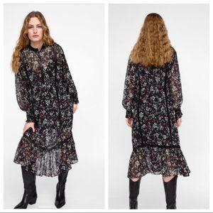 Zara Maxi Bohemian Cottagecore Floral Sheer Dress